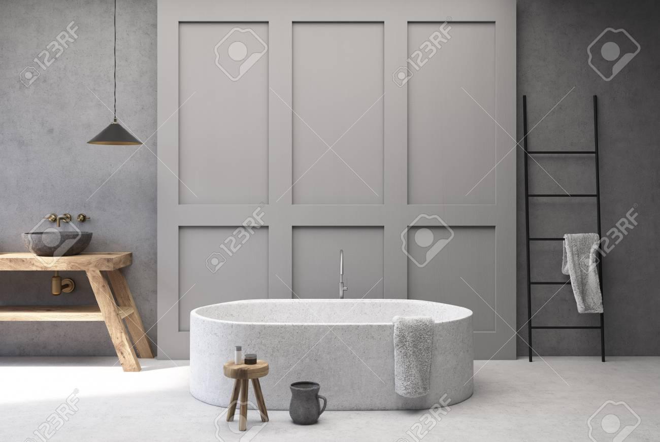Fußboden In Beton ~ Beton und grauer bathoom innenraum mit einem weißen fußboden