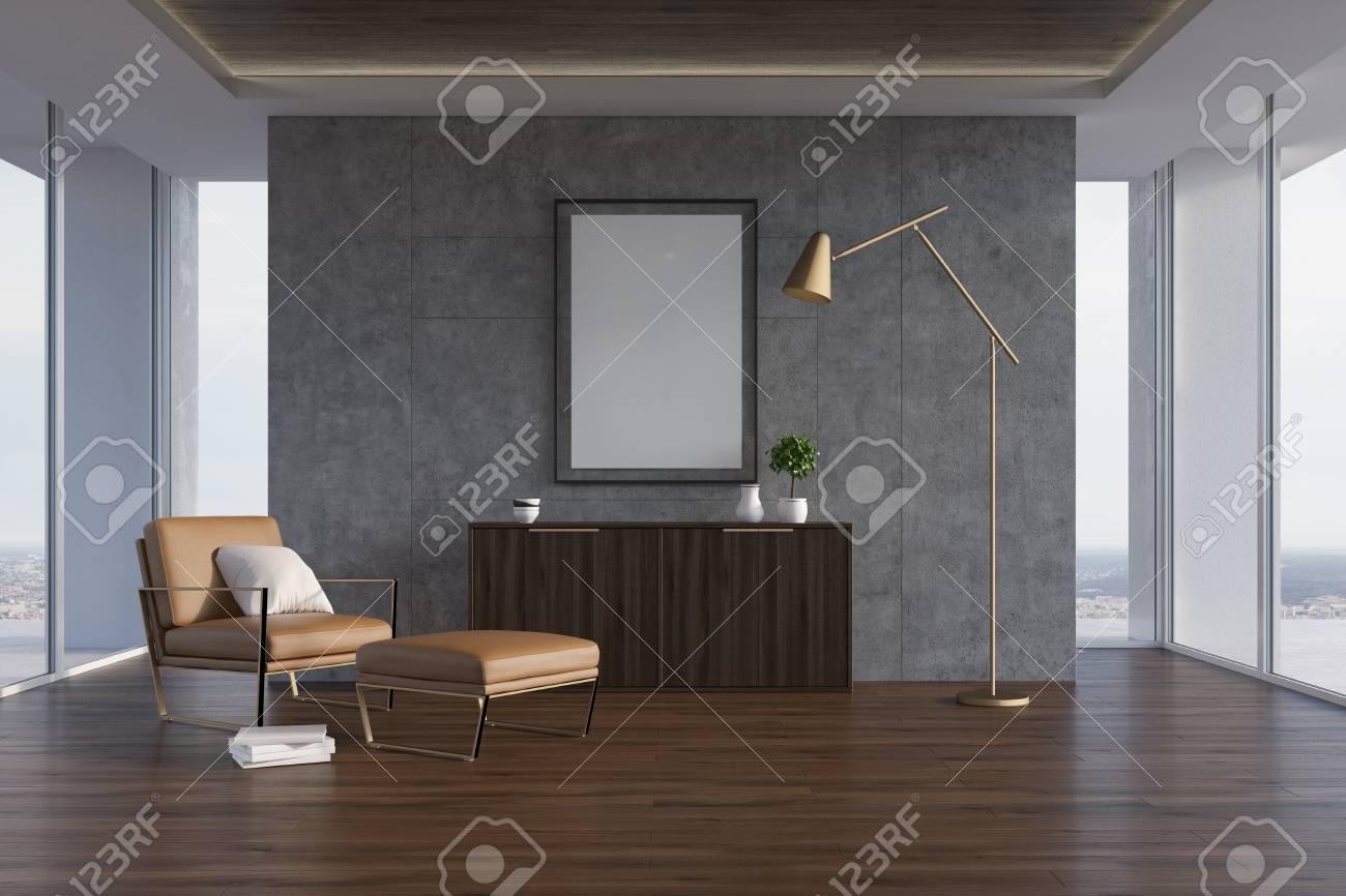 Pareti Soggiorno Beige : Loft soggiorno interno con pareti in cemento un pavimento in