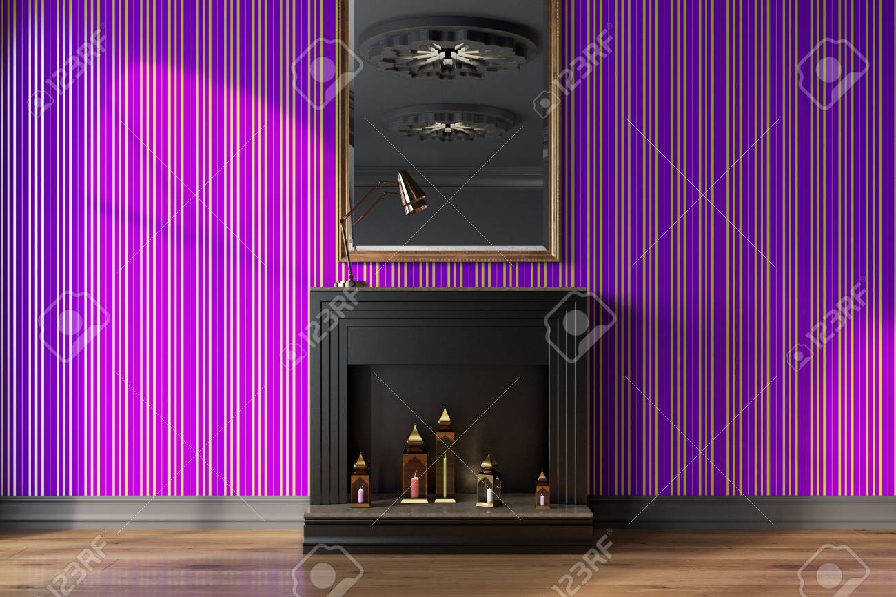 Purple living room interior with a black decorative fireplace,..
