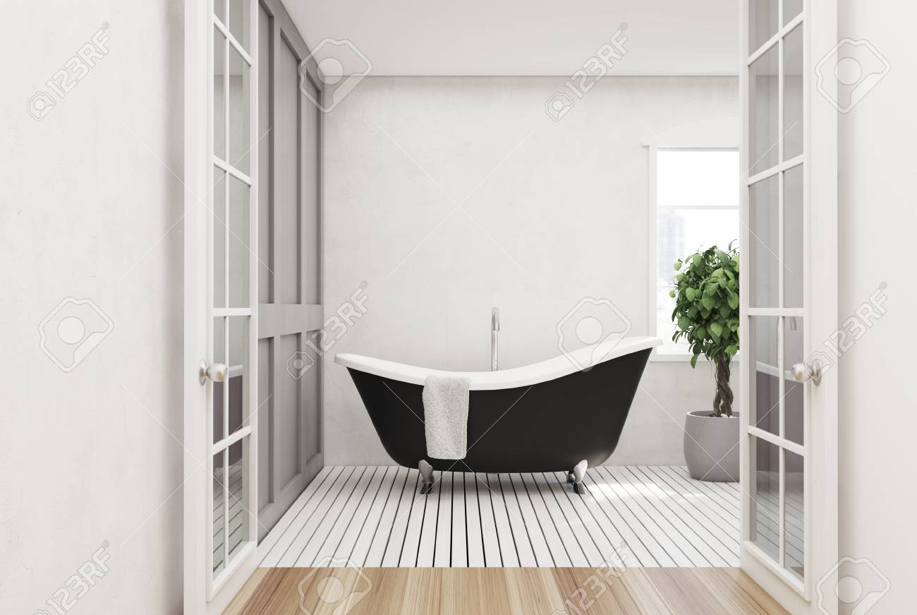 Salle De Bain Bois Blanc ~ int rieur de salle de bain blanc avec un plancher en bois blanc une