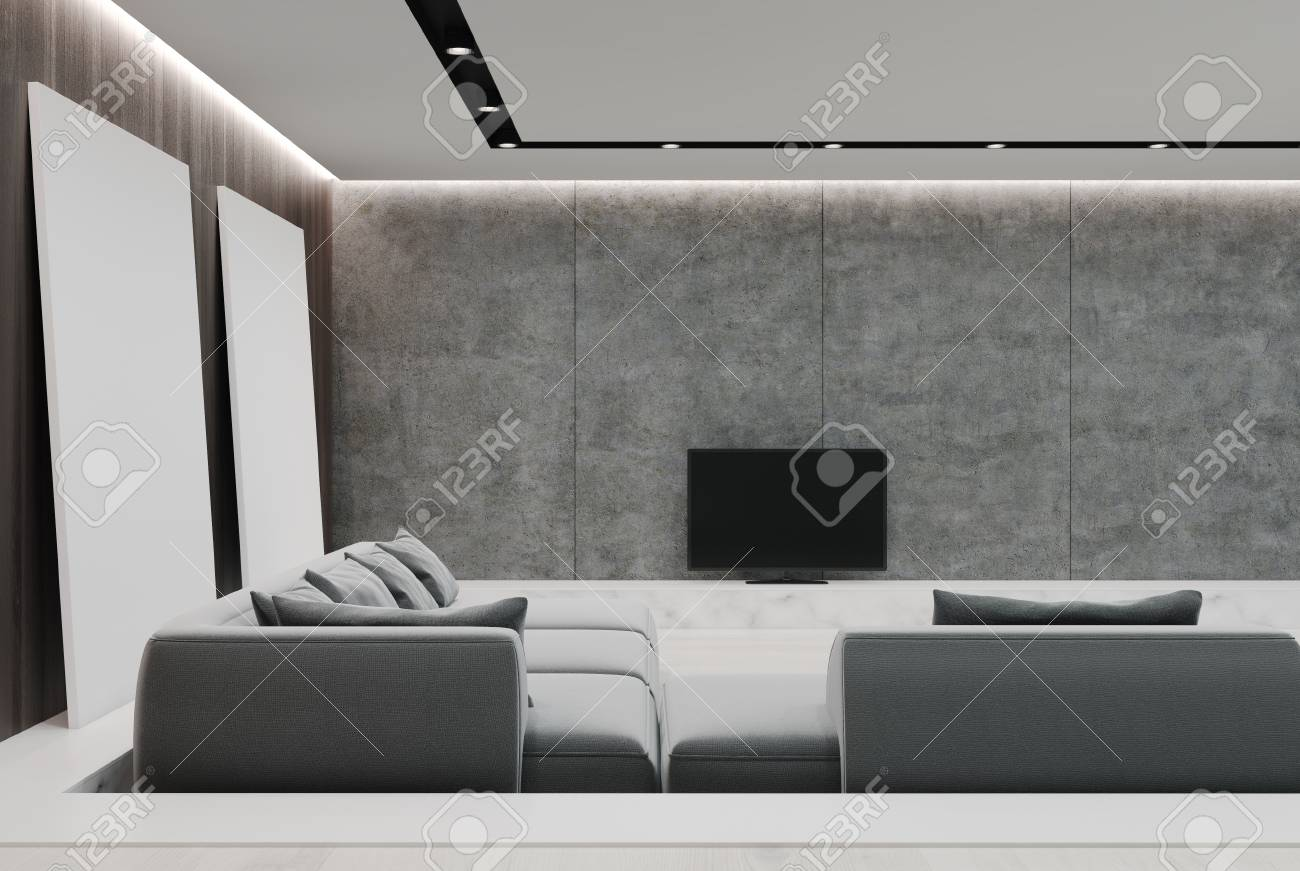 Astounding Concrete And Wooden Living Room Interior With A Gray Sofa A Download Free Architecture Designs Scobabritishbridgeorg