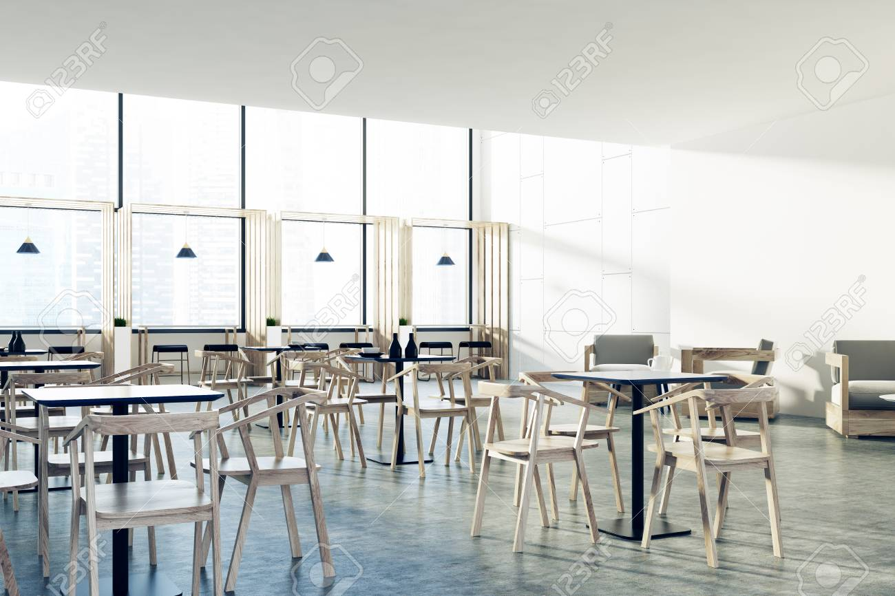 White Restaurant Interior With A Concrete Floor Black Square Stock Photo Picture And Royalty Free Image Image 86473486