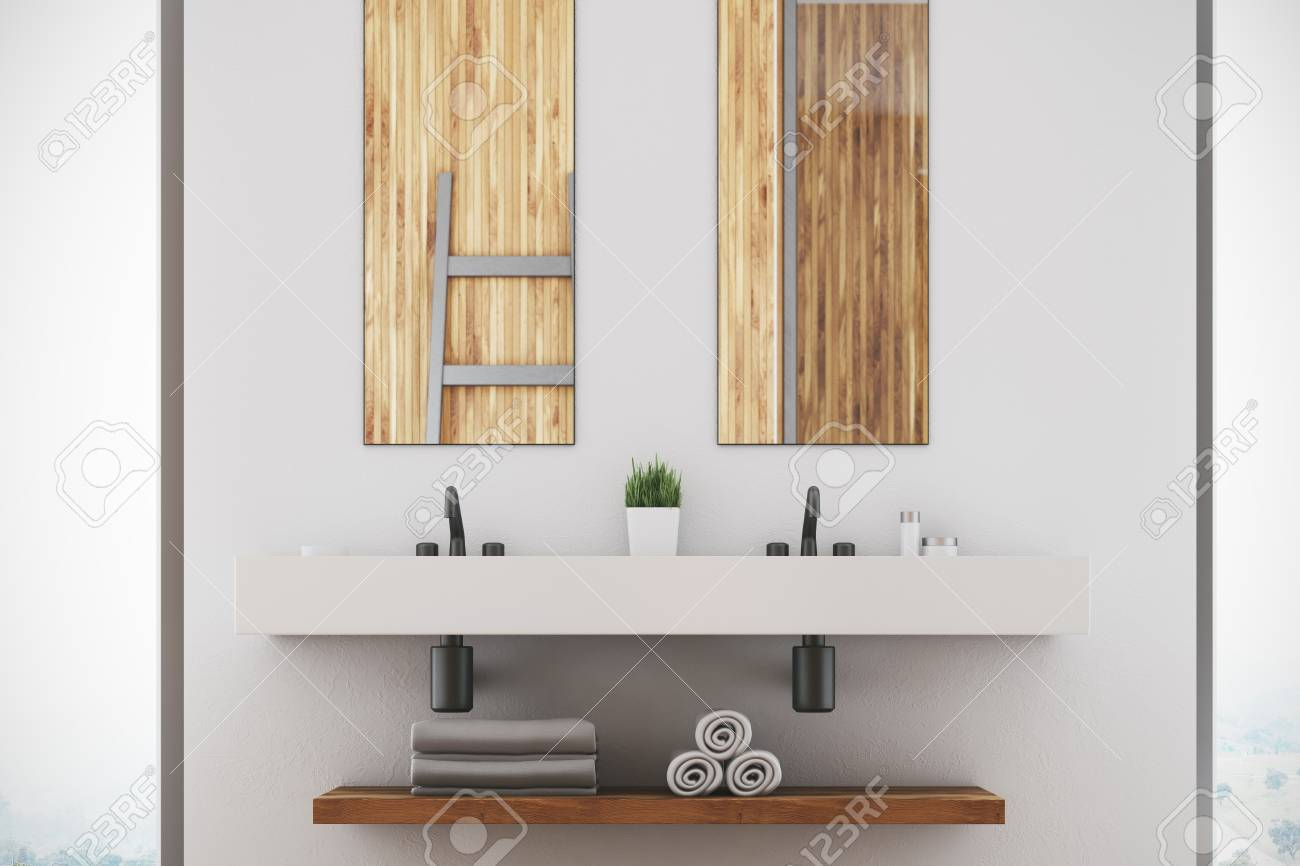 White Bathroom Interior With A Double Sink, Two Narrow Vertical ...