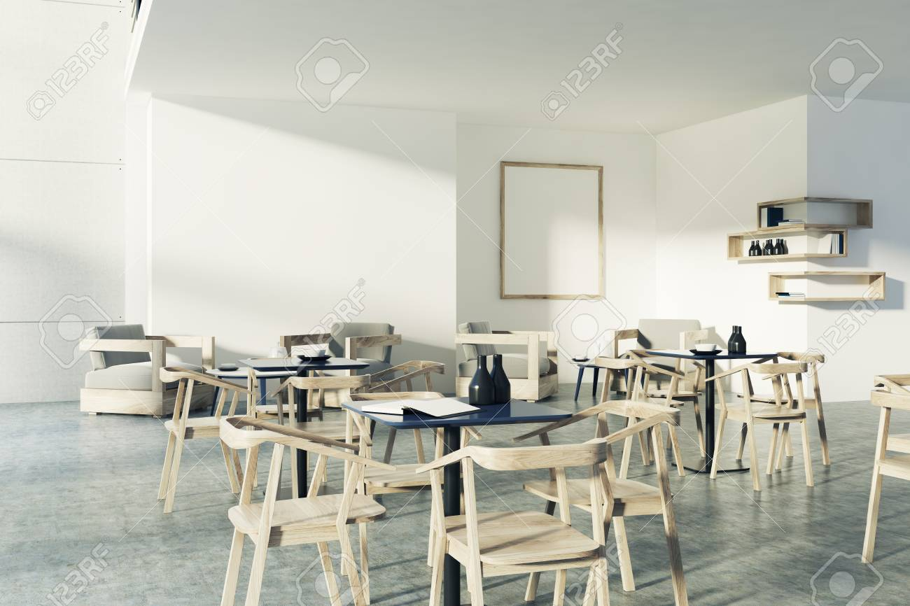 White Restaurant Interior With A Concrete Floor Black Square Stock Photo Picture And Royalty Free Image Image 86473510