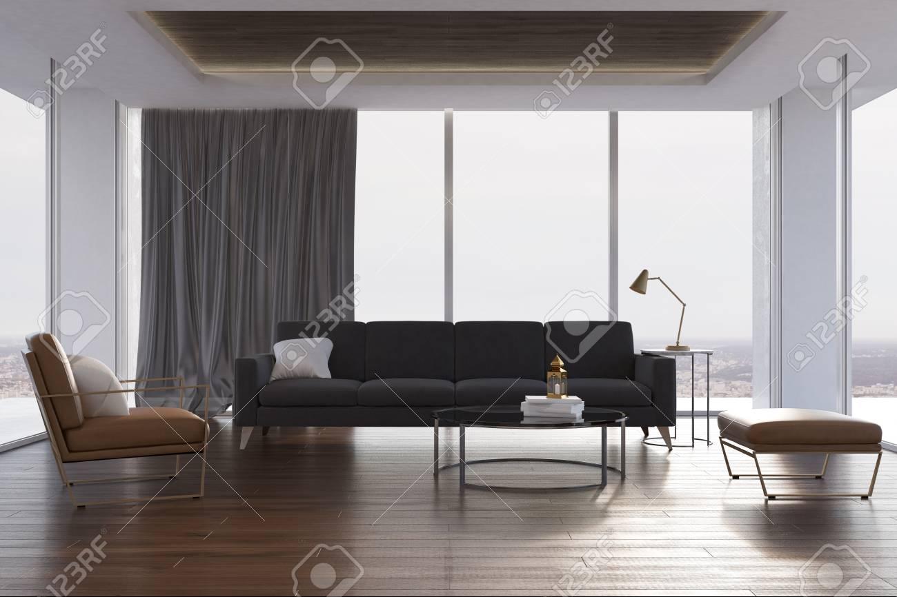 Loft Living Room Interior With Concrete Walls, A Wooden Floor ...
