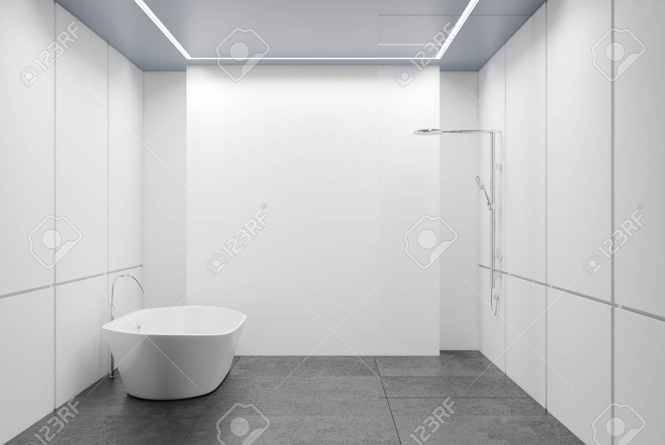 White Tiled Bathroom Interior With A Concrete Floor, A White.. Stock ...