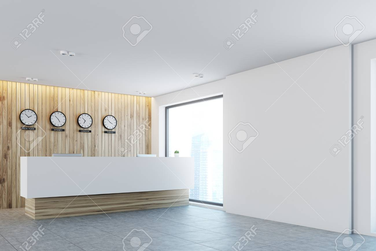 office reception counter. Stock Photo - White And Light Wood Office Lobby With A Long Reception Counter Clocks Showing World Time On Wall. Side View. 3d Rendering Mock Up