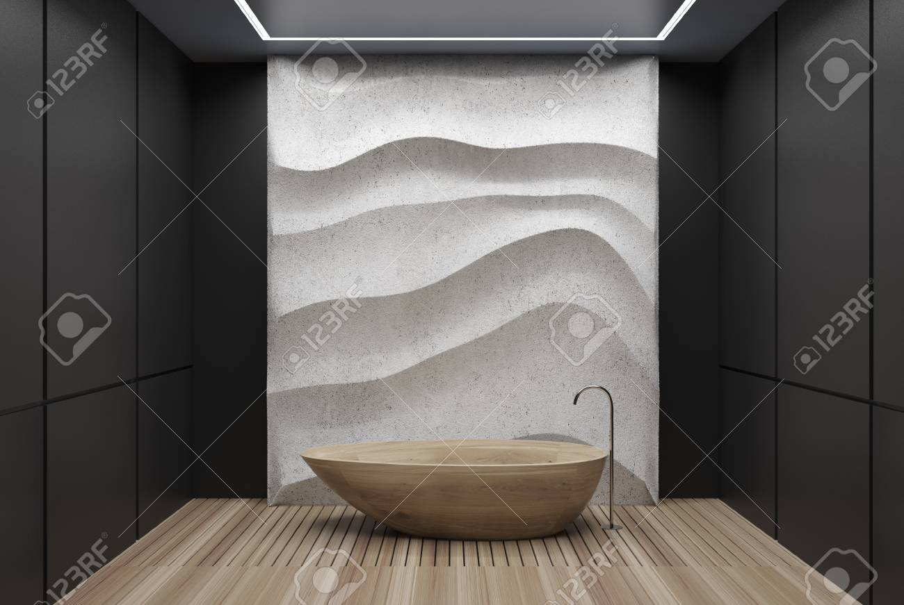 Black Panel Bathroom Interior With A Wooden Floor, A Wooden Tub ...