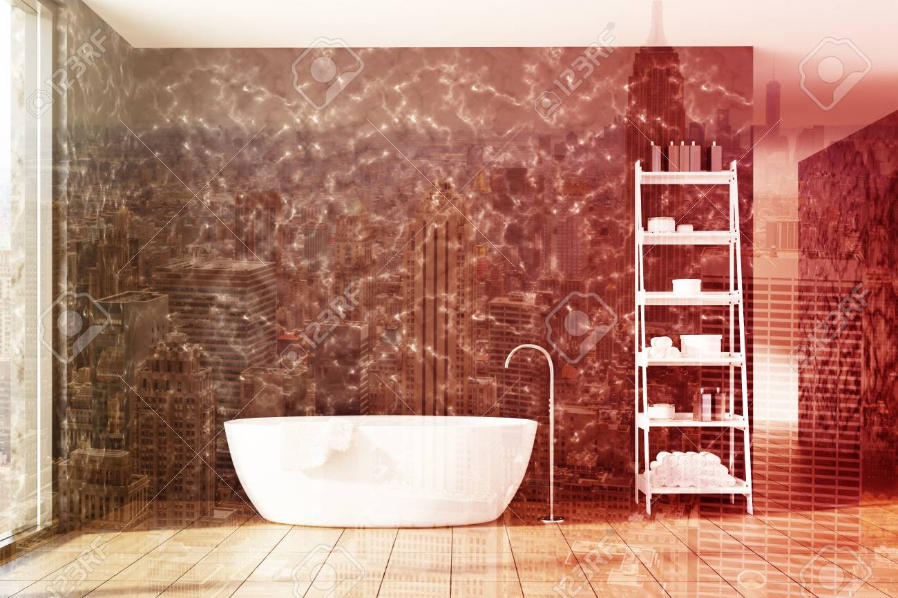 Black Marble Bathroom Interior With A Wooden Floor A Window Stock Photo Picture And Royalty Free Image Image 86473604