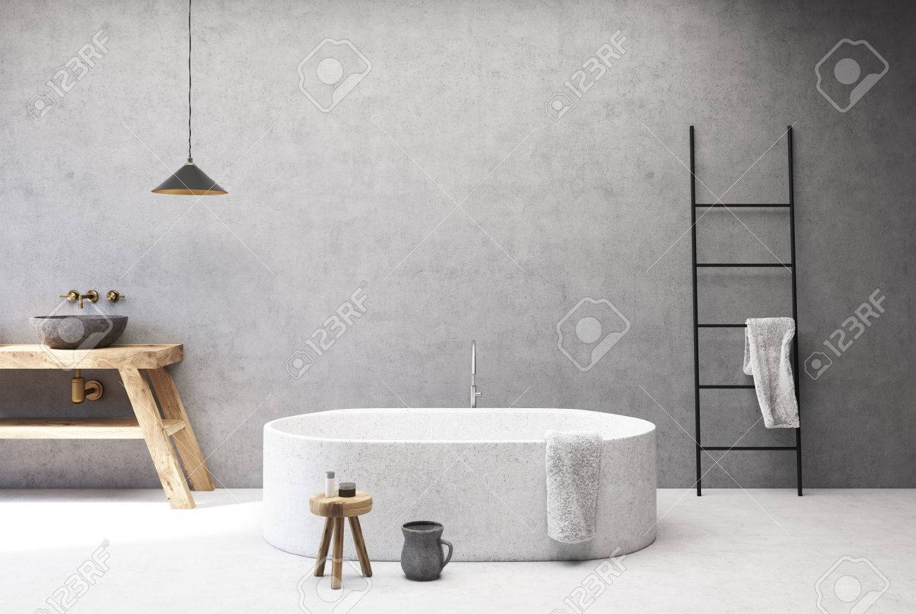 Concrete Bathroom Interior With A White Floor, A Round Tub, A ...