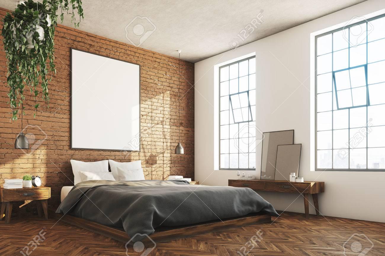 Ecke Eines Ziegelsteinschlafzimmerinnenraums Mit Einem Holzernen
