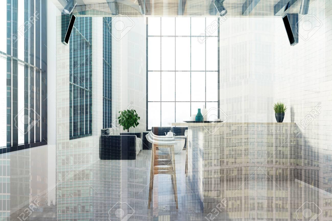 Interiore della cucina di mattoni di lusso con un pavimento di