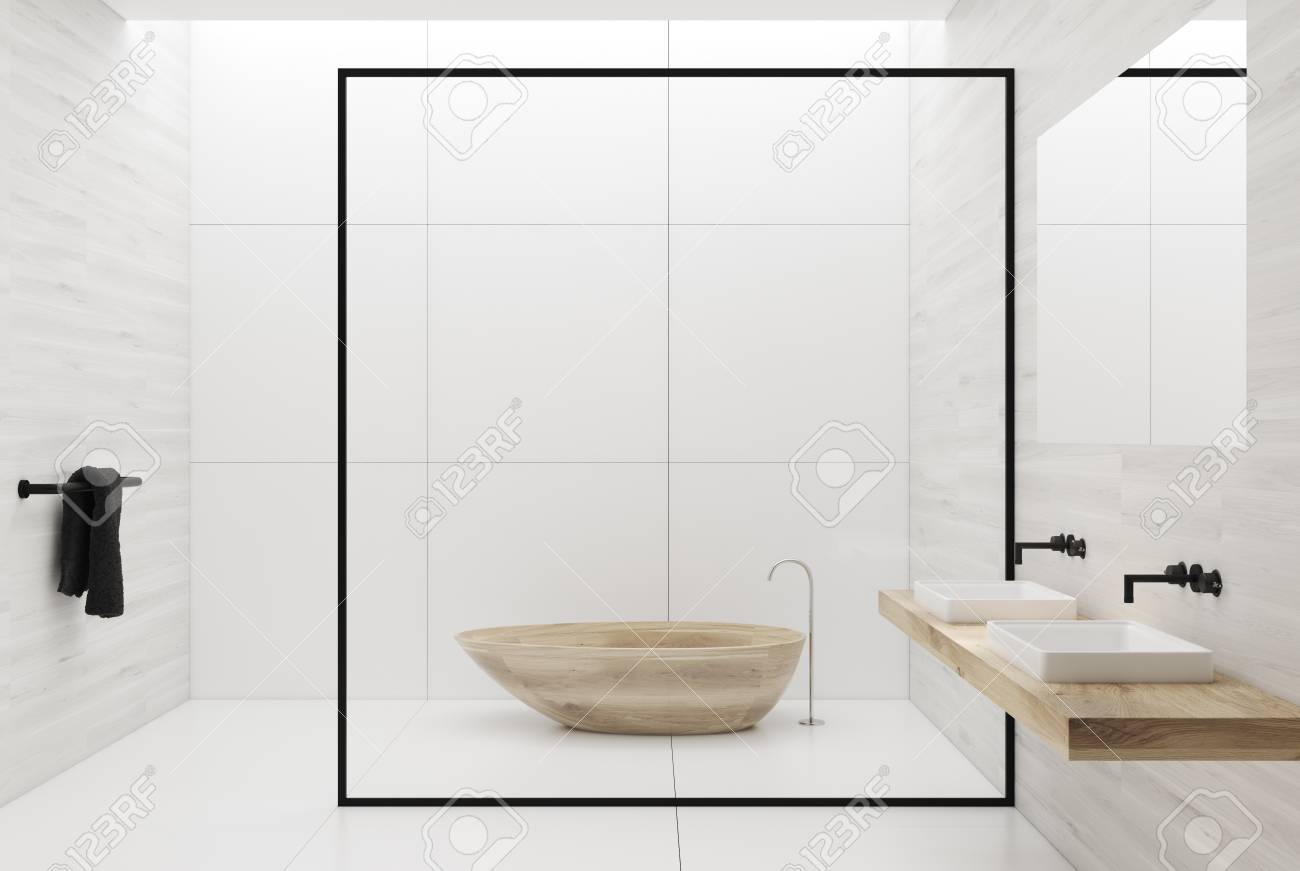 White Tiles Bathroom Interior With A Tiled White Floor, A Double ...