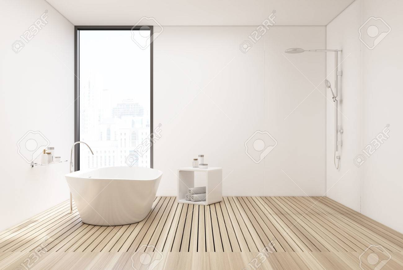 White Bathroom Interior With White Walls, A Wooden Floor, A White ...
