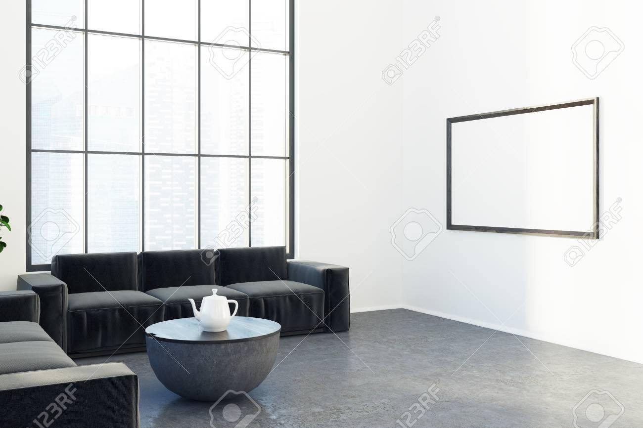 Bürowarterauminnenraum Mit Weißen Wänden Ein Konkreter Boden, Zwei ...