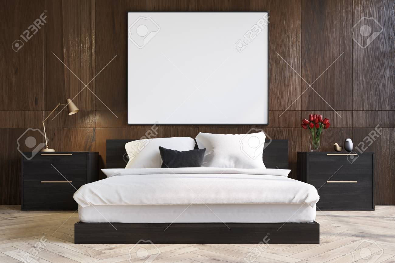 Dark Wooden Bedroom Interior With A Wooden Floor A Master Bed Stock Photo Picture And Royalty Free Image Image 87045098