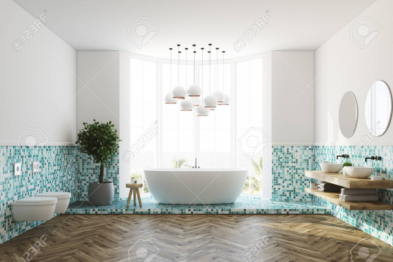 White And Green Tiles Bathroom Interior With A Large Window,.. Stock ...