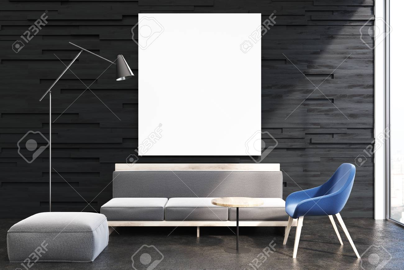 Upscale Living Room Interior With Black Walls And A Concrete.. Stock ...