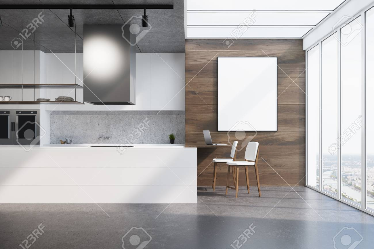 Upscale kitchen interior with wooden walls, a dark concrete floor,