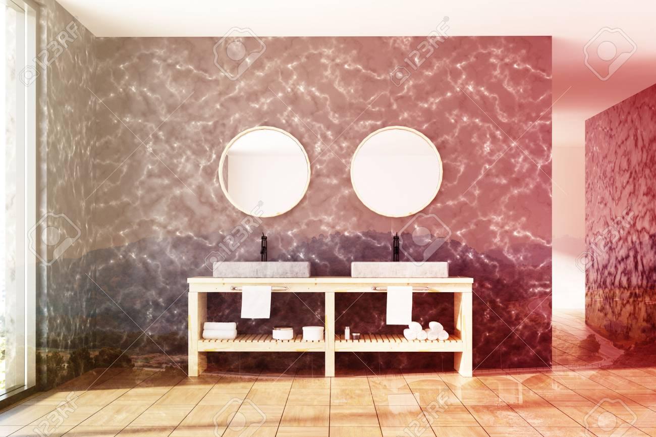 Espejos Redondos Lavabo.Interior De Bano De Marmol Con Paredes De Marmol Negro Un Piso De Madera Y Un Lavabo Doble Con Dos Espejos Redondos Por Encima Representacion 3d