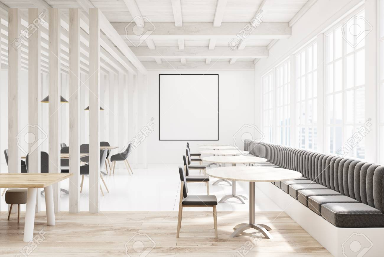 Wooden White Restaurant Interior With A Concrete Floor A Window Stock Photo Picture And Royalty Free Image Image 87045183