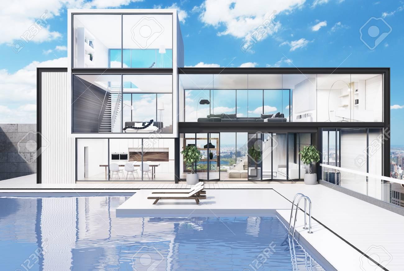 Pool design holz  Weiße Villa Aus Holz Und Glas Mit Einem Luxuriösen Pool. Es Gibt ...