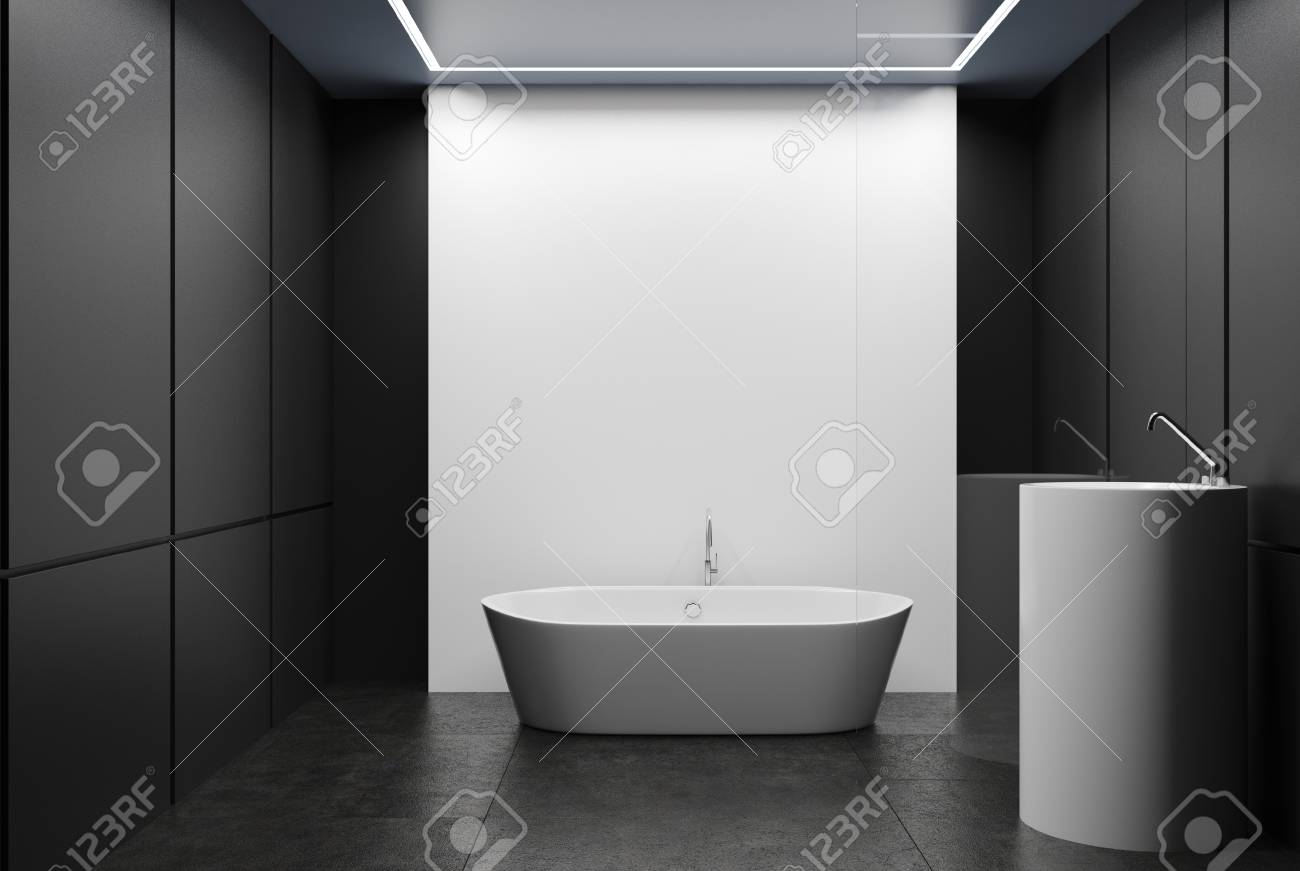Black Tiled Bathroom Interior With A Conrcete Floor, A White.. Stock ...