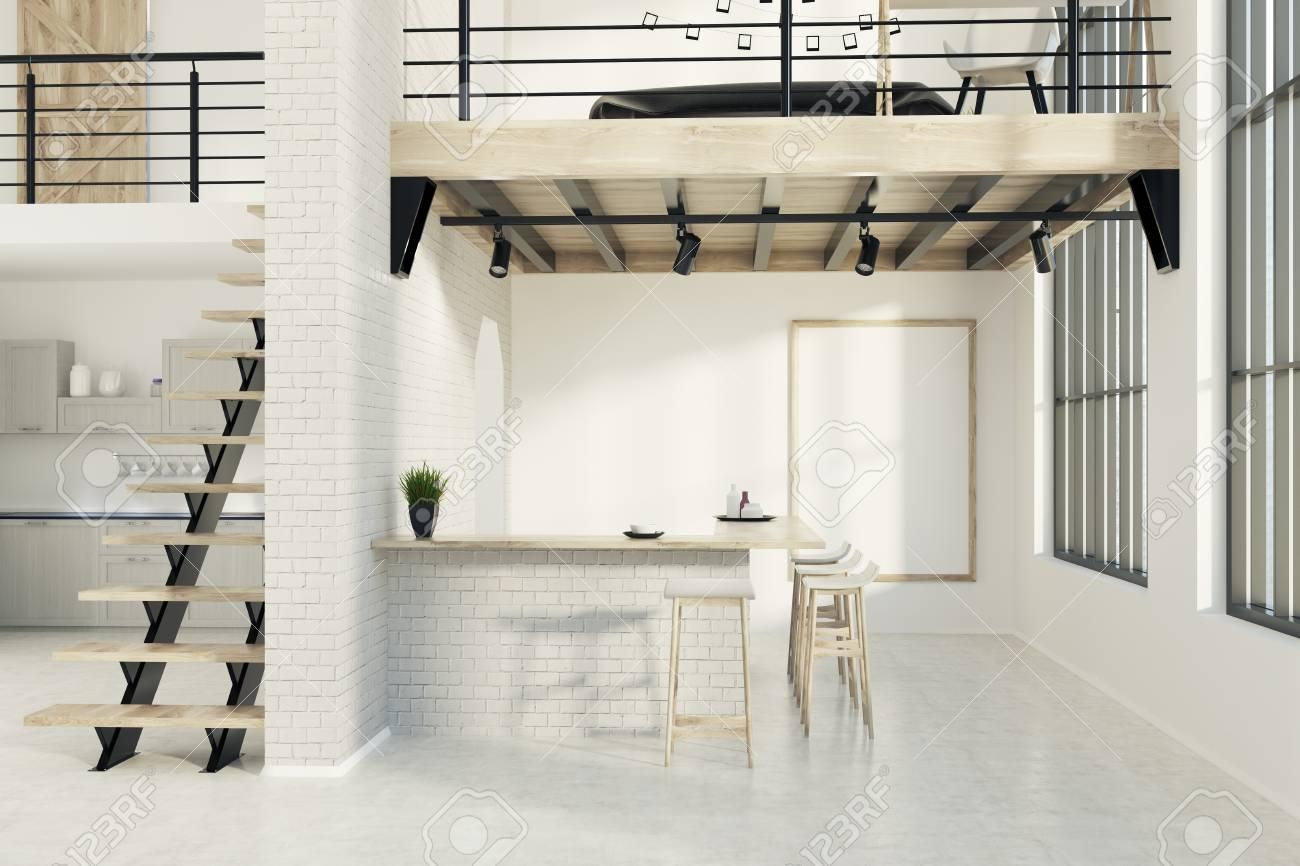 Backstein Gehobenen Kuche Interieur Mit Einem Betonboden Und Eine