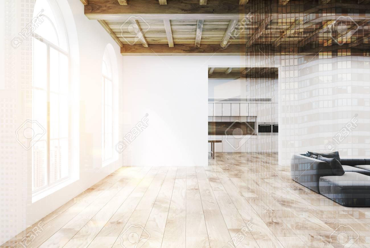 Intérieur de salon blanc avec un plancher en bois, de grandes fenêtres  arrondies, des canapés gris et une cuisine en arrière-plan. Rendu 3D  maquette ...