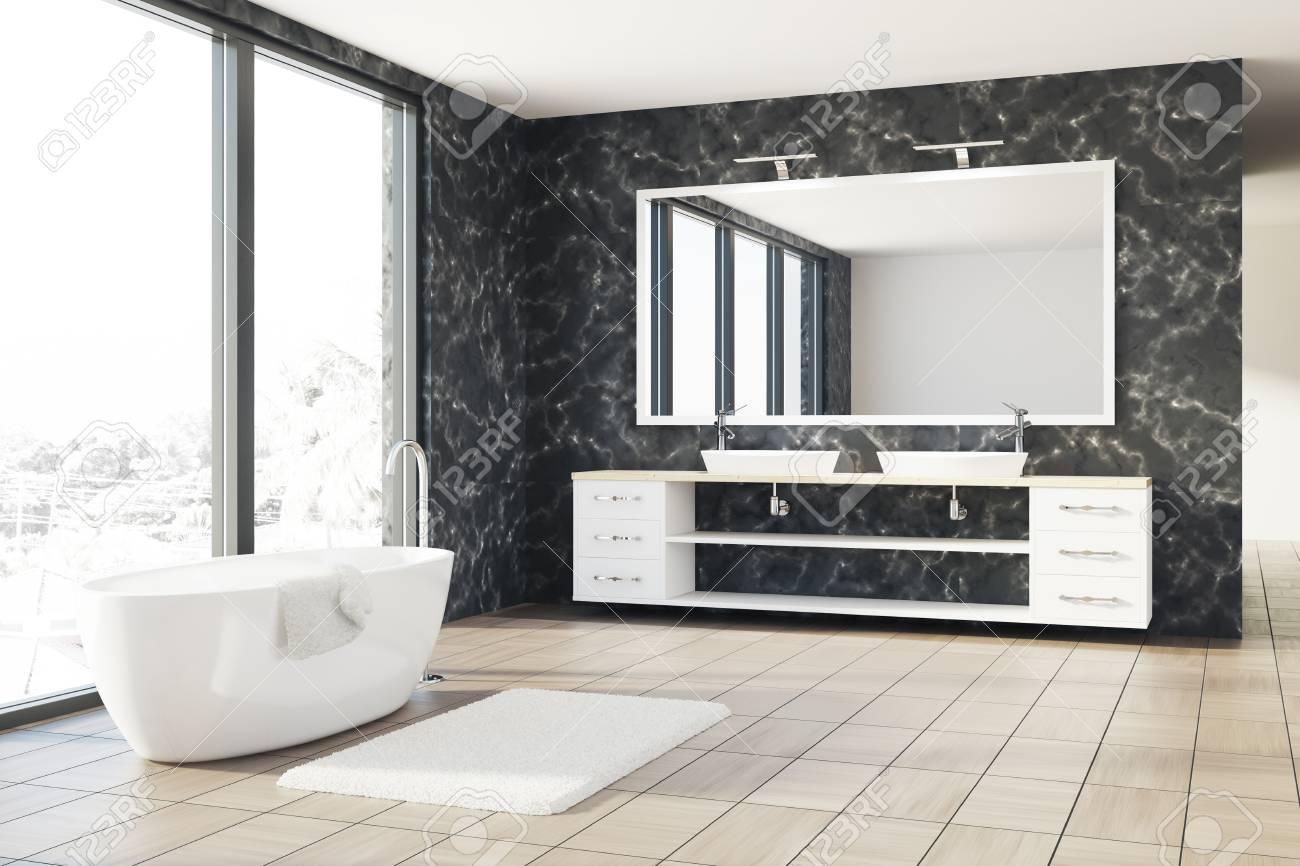 Salle De Bain Mur Noir ~ int rieur de salle de bain loft avec des murs en marbre noir un