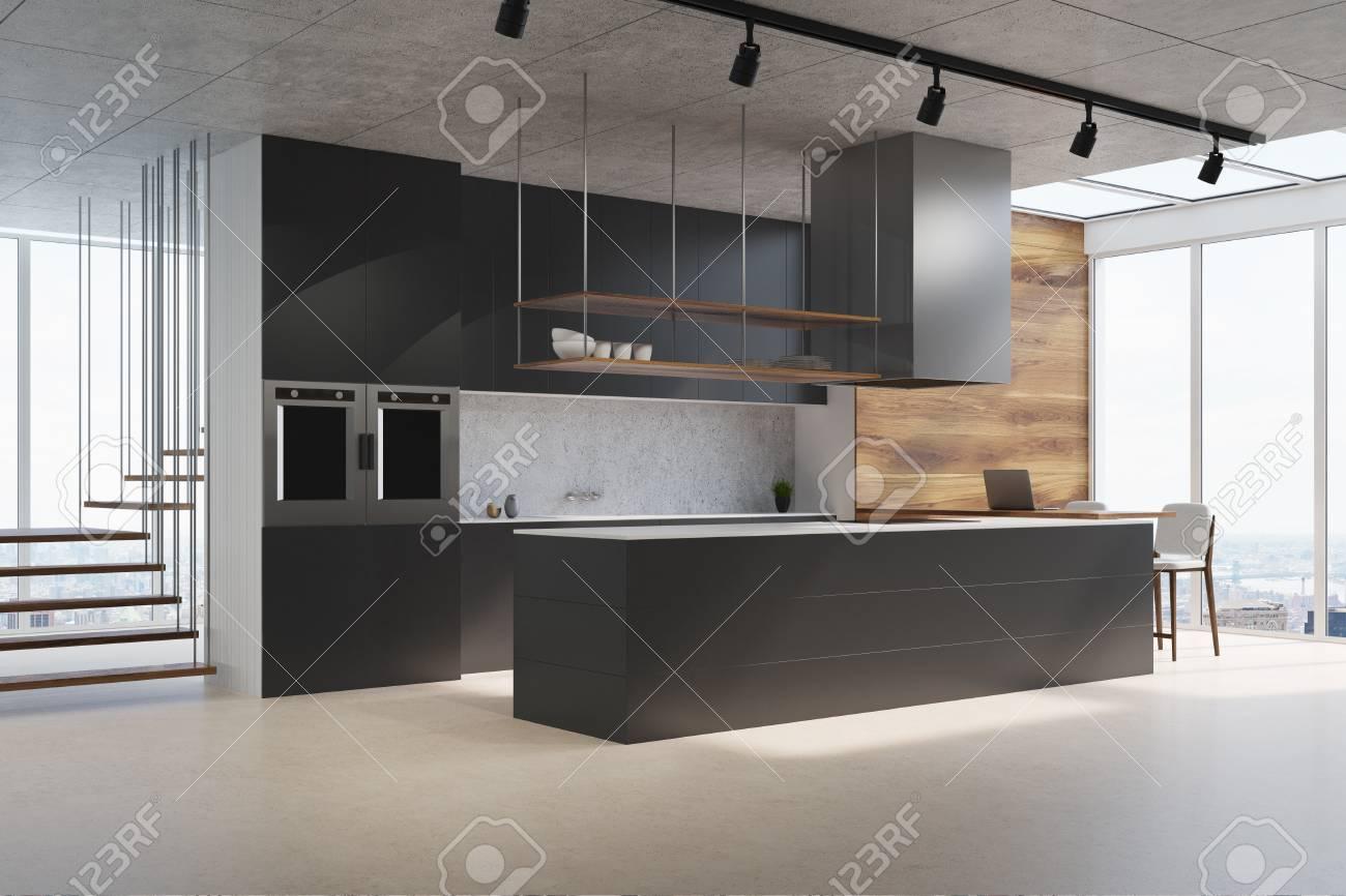 Escalier Interieur Beton Design intérieur de cuisine blanc et bois avec un comptoir noir, un dosseret en  béton, un escalier futuriste et un sol en béton. vue de côté. maquette 3d