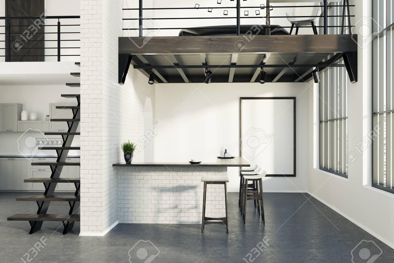 Brick Gehobene Kuche Interieur Mit Einem Dunklen Betonboden Und Eine