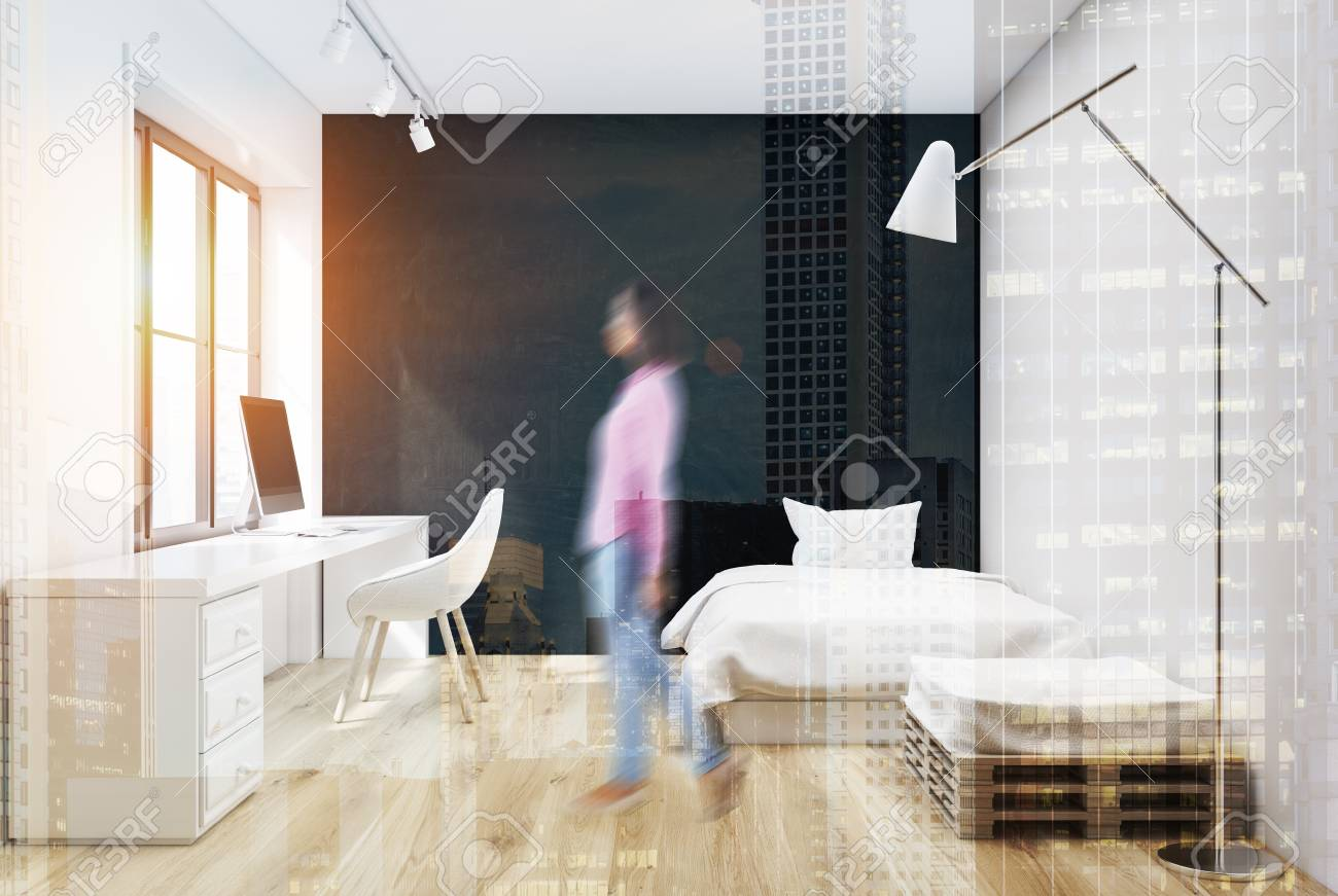 Intérieur gris chambre à coucher avec un lit blanc un fauteuil et