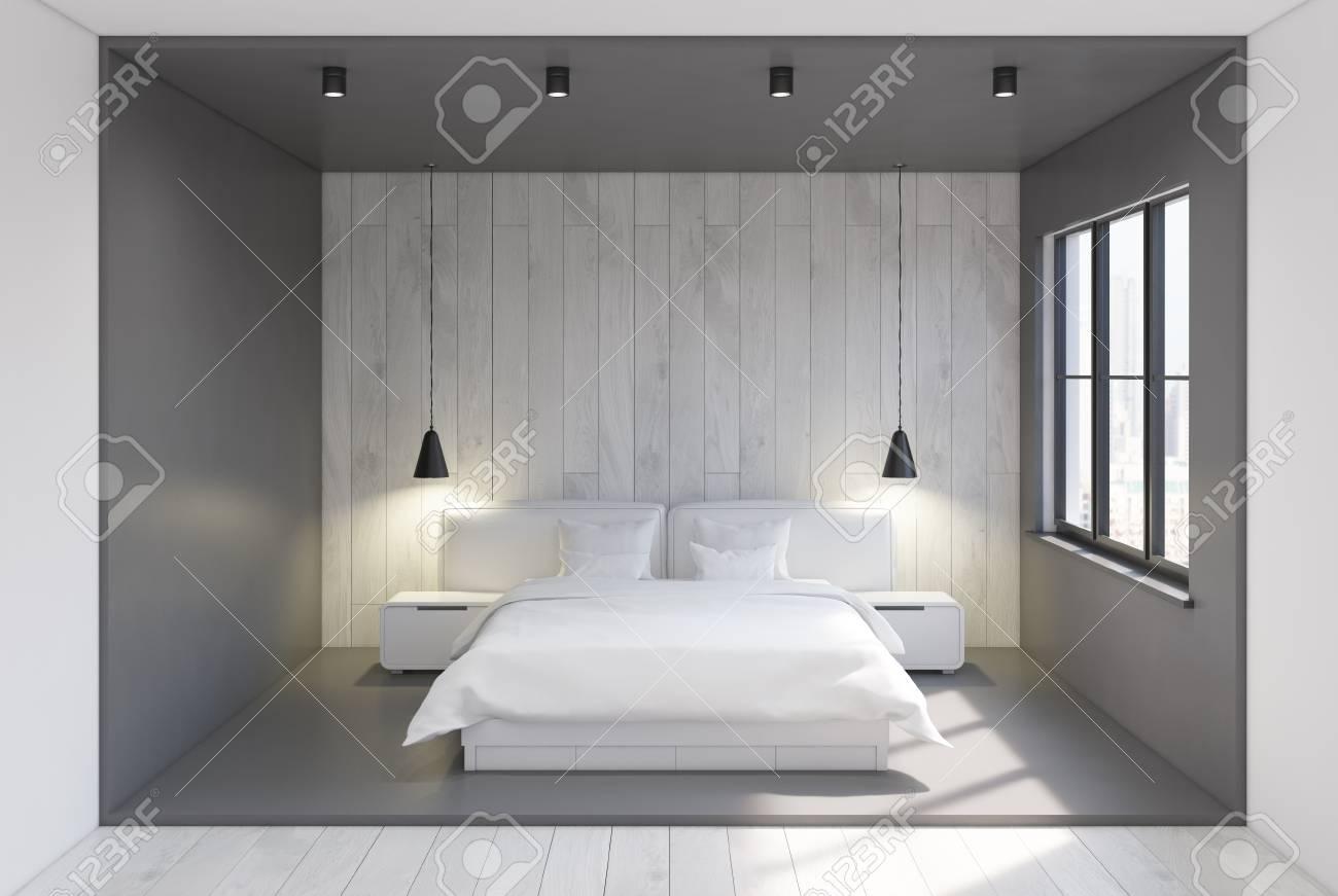 Vue De Face D\'un Intérieur De Chambre Moderne Avec Des Murs Gris Et ...