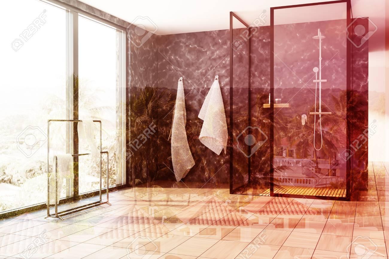 Int Rieur De Salle De Bain Loft Avec Des Murs En Marbre Noir Un