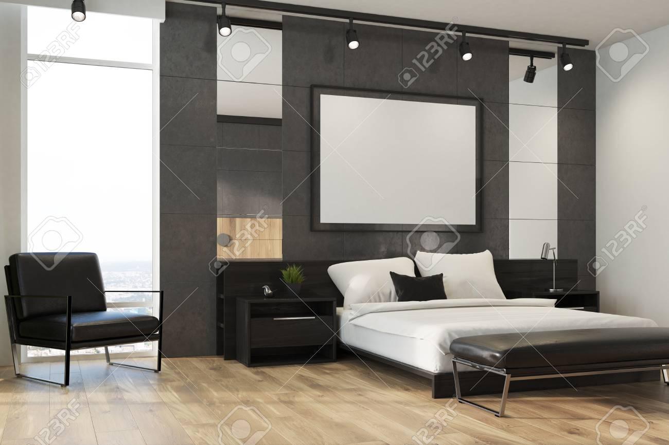 Chambre De Luxe Avec Des Murs Gris Et Blancs, Des Fenêtres De Loft ...