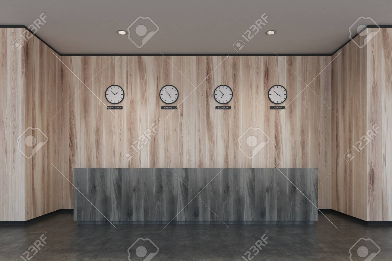 modern office walls. Dark Wooden Reception Desk In A Modern Office With Light Walls And Concrete Floor