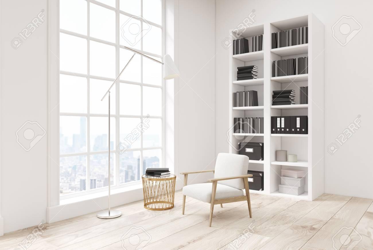 Coin D\'un Intérieur De Salon Blanc Avec Un Plancher En Bois, Une ...