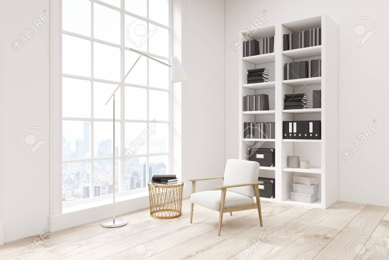 Corner Of A White Living Room Interior With A Wooden Floor, A ...