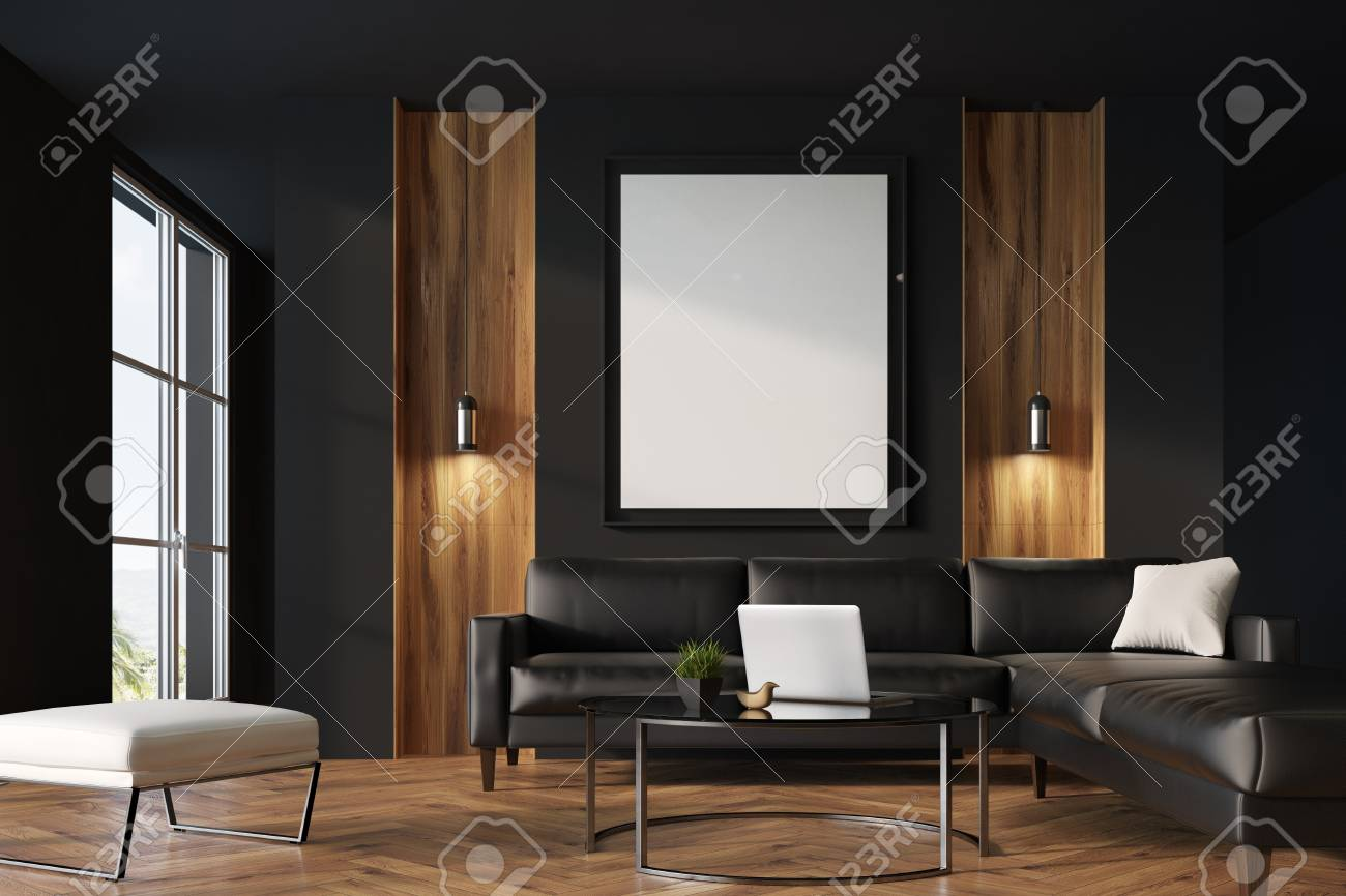Black and wooden living room interior with black leather sofas,..