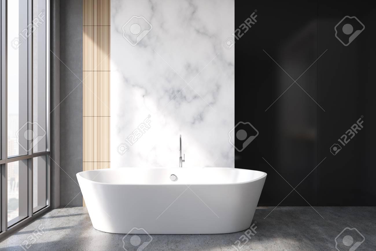 Marbre Blanc, Intérieur De Salle De Bain Noir Et Bois Avec Un Sol En ...