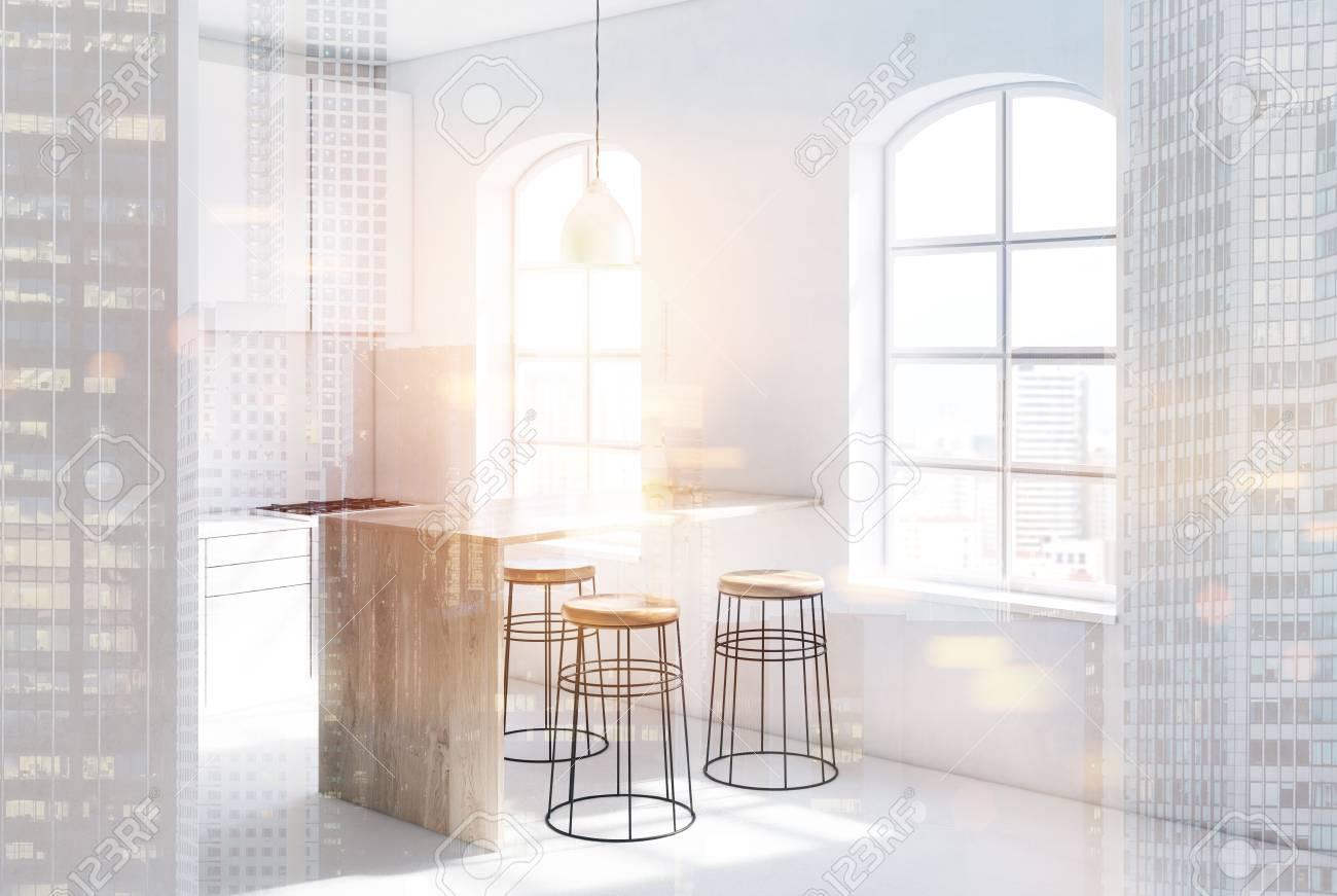 Bancone Cucina Con Sgabelli : Immagini stock interiore della cucina in stile scandinavo con un