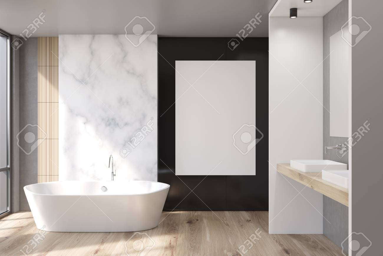 White Marble Black And Wooden Bathroom Interior With A