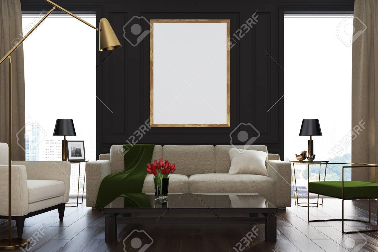 Black living room interior with loft windows, beige curtains,..