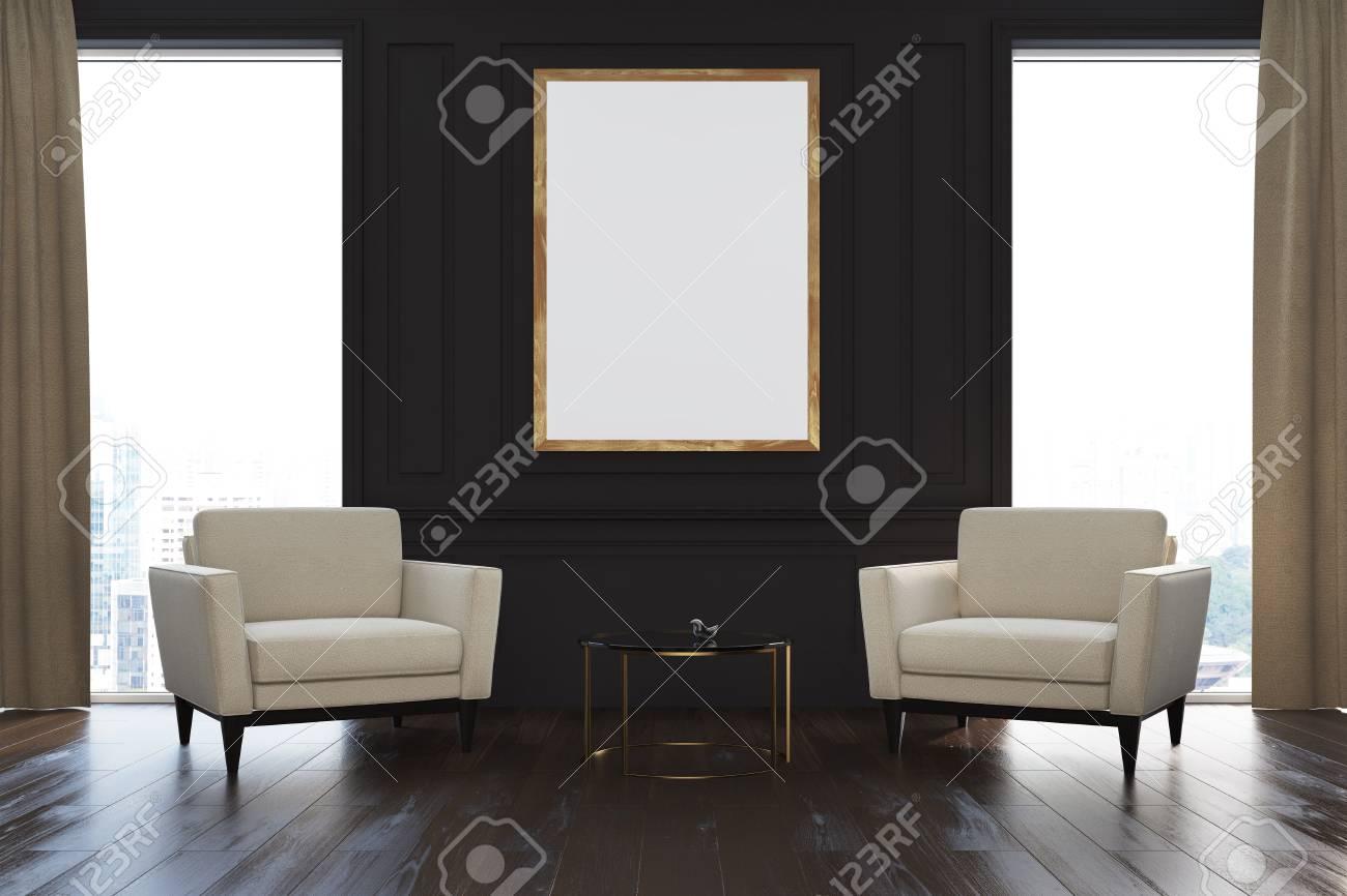 Intérieur De Salon Noir Avec Fenêtres Loft, Rideaux Beige, Deux ...
