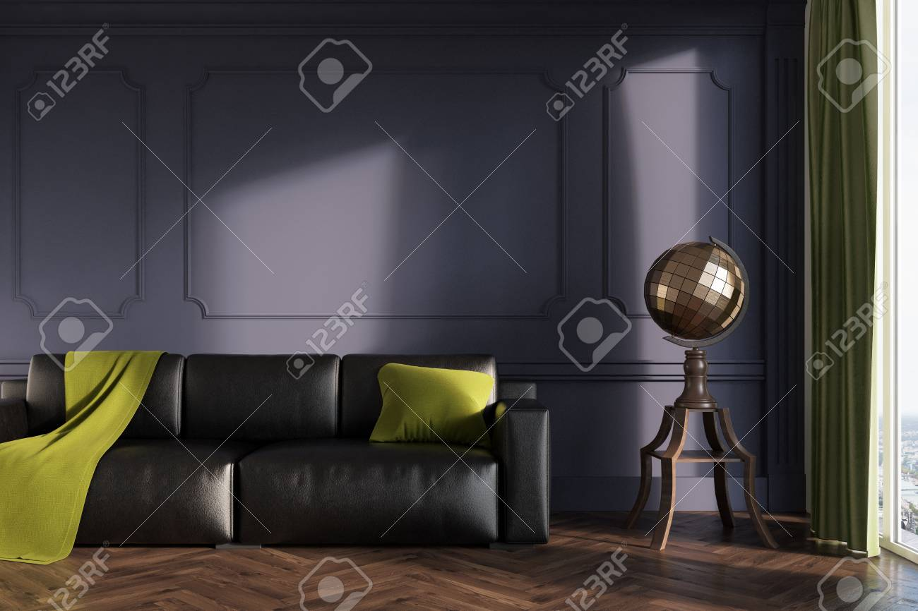 Gray living room interior with a black leather sofa, a green..