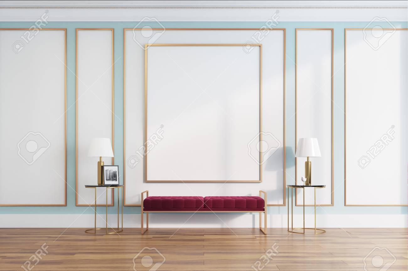 Tavolino Salotto Verde : Interni in salotto bianco e verde con una stretta panca morbida tra