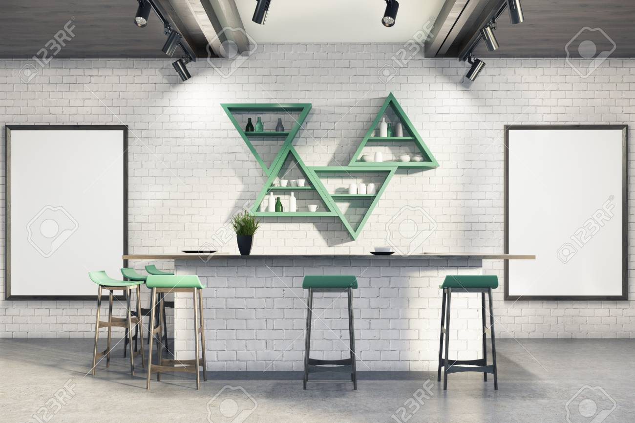 Modern bar interior with white brick walls a concrete floor a bar stand