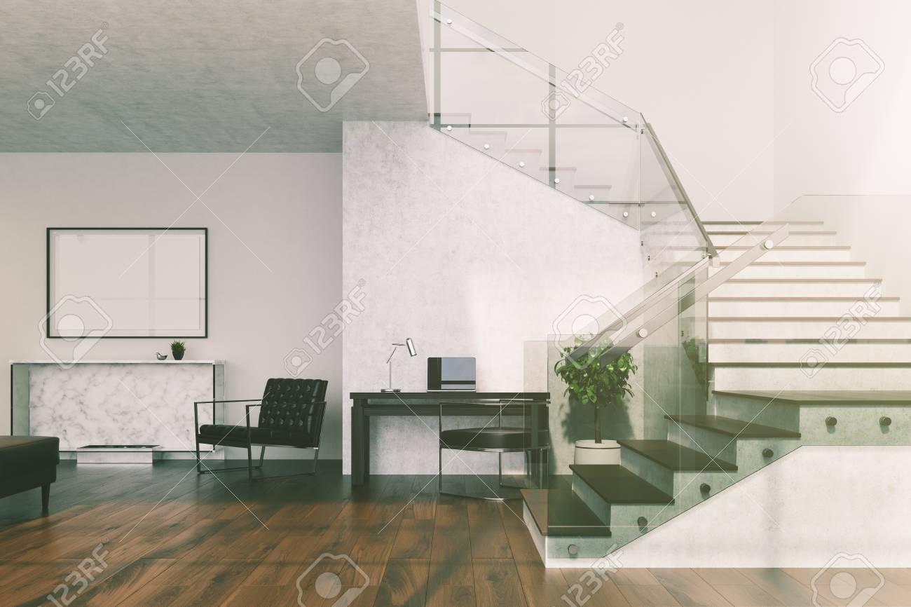 Fußboden 3d Bilder ~ Weißer wohnzimmerinnenraum mit einem hölzernen fußboden einer