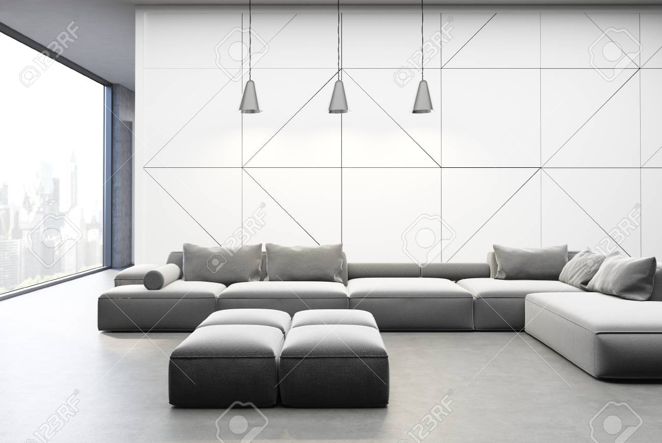 Modern Living Room Interior With White Panel And Concrete Walls ...